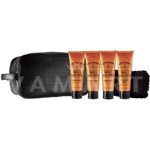Scottish Fine Soaps Thistle & Black Pepper Мъжки козметичен комплект с 4 продукта, кърпа и несесер