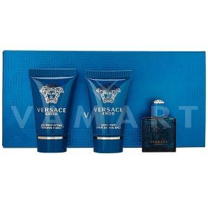 Versace Eros Eau De Toilette 5ml + Shower gel 25ml + Aftershave Balm 25ml мъжки комплект
